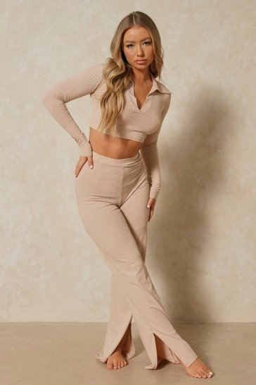 Stone Ribbed Polo Top Wide Leg Trouser Co-ord