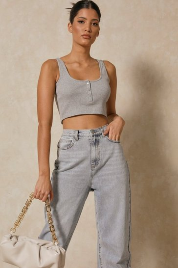 Grey marl Ribbed Popper Scoop Neck  Crop Top