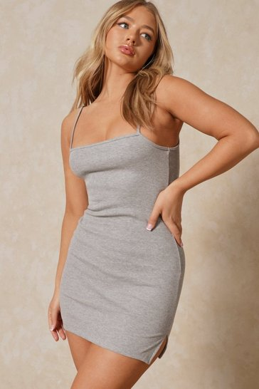 Grey marl Ribbed Square Neck Split Detail Mini Dress