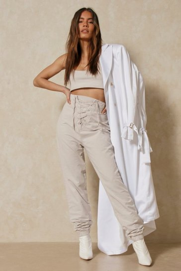 Stone Acid Wash Lace Up Jogger And Crop Co-ord