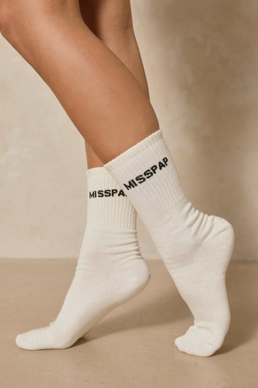 Cream Misspap Branded Sock