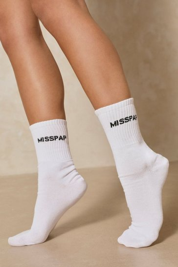 White Misspap Branded Sock
