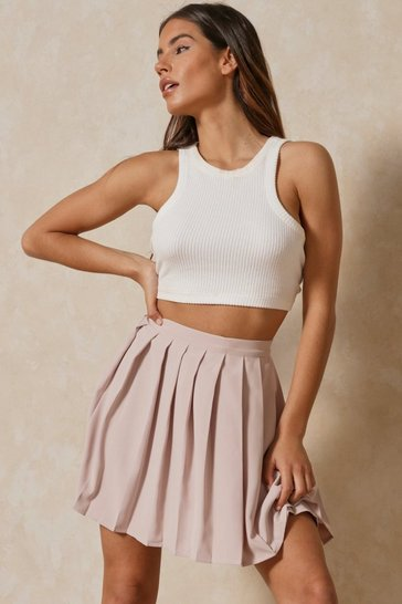 Stone Button Detail Tennis Skirt