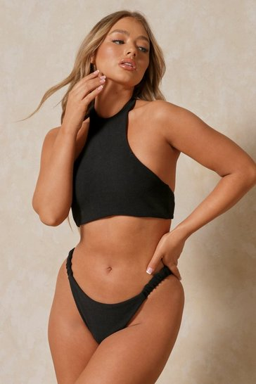 Black Ribbed Racer High Neck Bikini Top