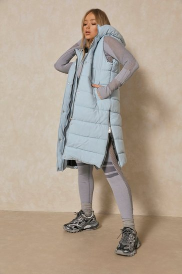 Blue Hooded Padded Longline Gilet