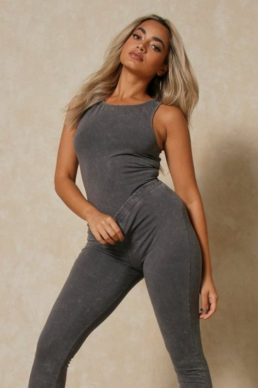 Charcoal Acid Wash Racer Bodysuit