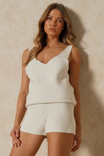 Cream Knitted Vest And Shorts Co-ord