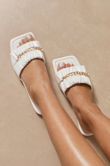 White Faux Leather Square Chain Detail Mule