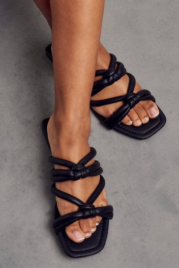 Black Faux Leather Knotted Sandal
