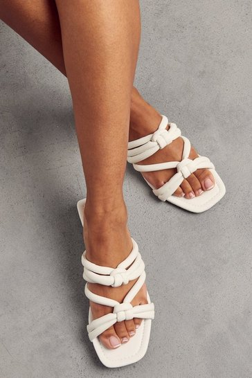 White Faux Leather Knotted Sandal