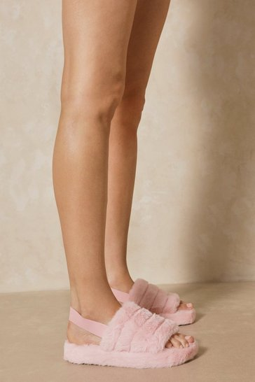 Light pink Faux Fur Elastic Strap Slippers
