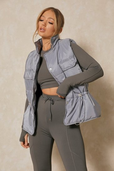 Grey Pocket Front Padded Gilet Jacket