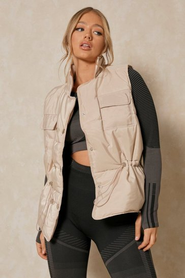 Stone Pocket Front Padded Gilet Jacket