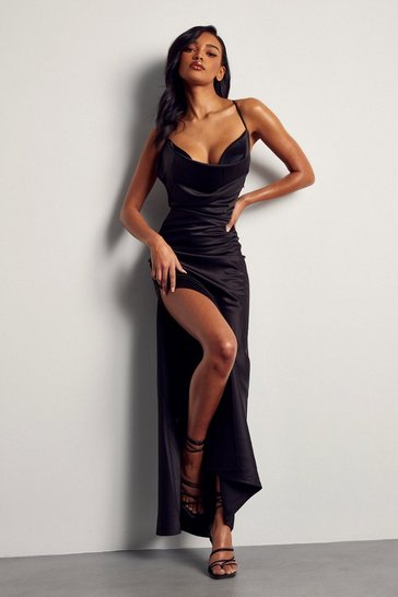 Black Premium Satin Cowl Neck Maxi Dress