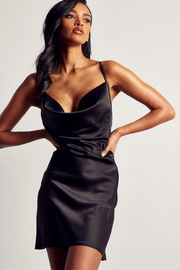 Black Premium Satin Cowl Neck Mini Dress