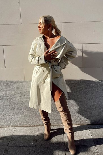 Cream Premium Leather Trench Coat