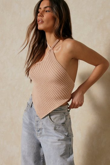 Nude Knitted Handkerchief Top