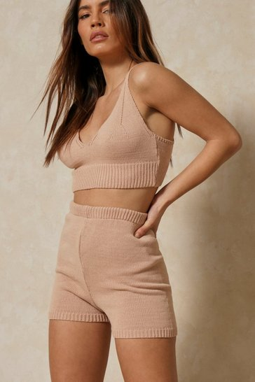 Nude Rib Knit Bralet And Shorts Set