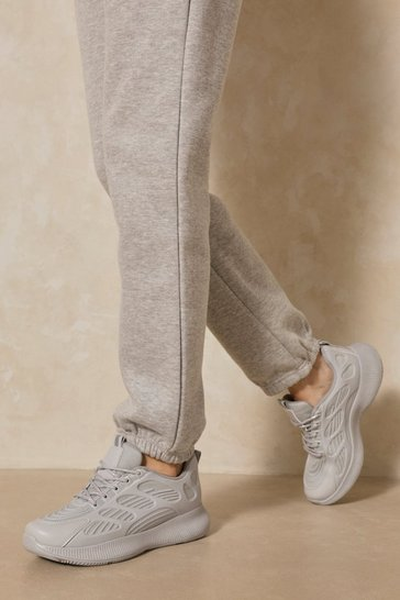 Grey Embossed Detail Sneakers