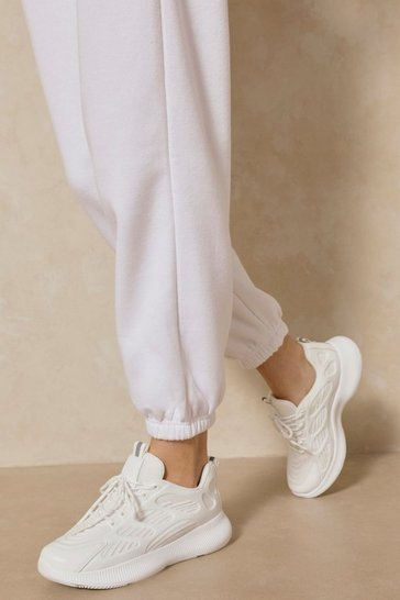 White Embossed Detail Sneakers