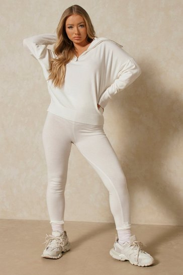 Cream High Neck Zip Knitted Lounge Set