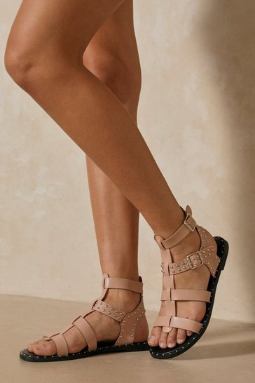 Nude Studded Gladiator Caged Sandals