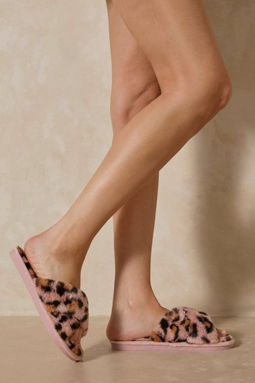 Pink Leopard Print Cross Over Slipper