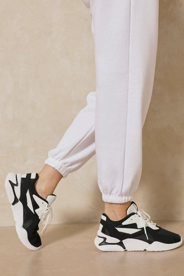 Black Panelled Chunky Sneakers