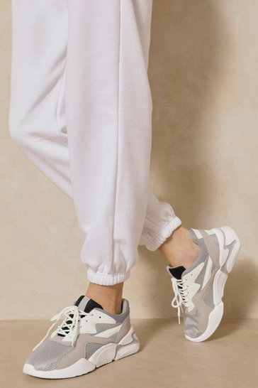 Grey Panelled Chunky Sneakers