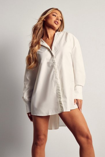 White Poplin Ruched Open Back Shirt Dress