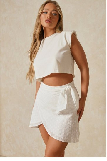 White Broderie Anglaise Wrap Mini Skirt