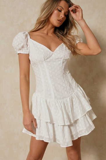 White Broderie Anglaise Ruffle Corset Detail Dress