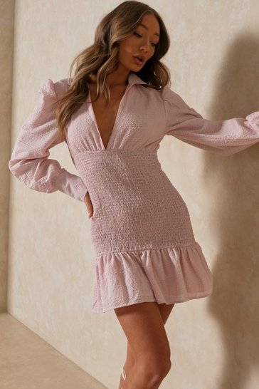 Baby pink Textured Puff Sleeve Shirring Detail Dress
