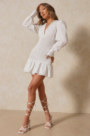 White Textured Puff Sleeve Shirring Detail Dress