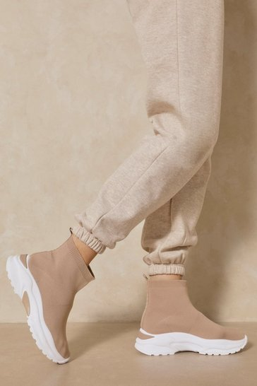 Nude Chunky Knitted High Top Sneakers