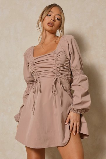 Camel Poplin Ruched Front Long Sleeve Dress