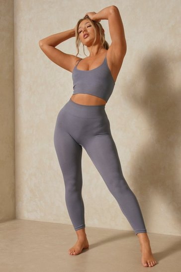 Grey Ribbed Seamless Longline Bra And Legging Set