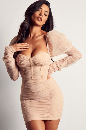 Nude Mesh Ruched Puff Sleeve Mini Dress