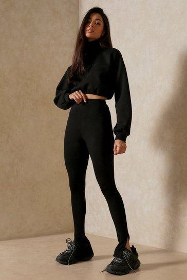 Black Jersey Split Front Legging