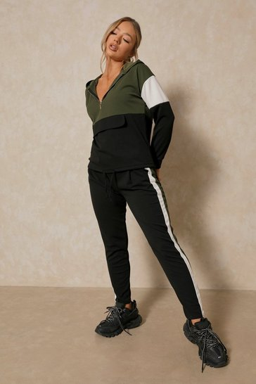 Khaki Premium Colour Block Pocket Front Tracksuit