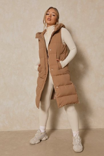 Camel Longline Sleeveless Hooded Gilet