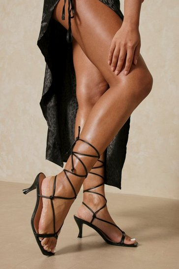 Black Square Toe Tie Up High Heels