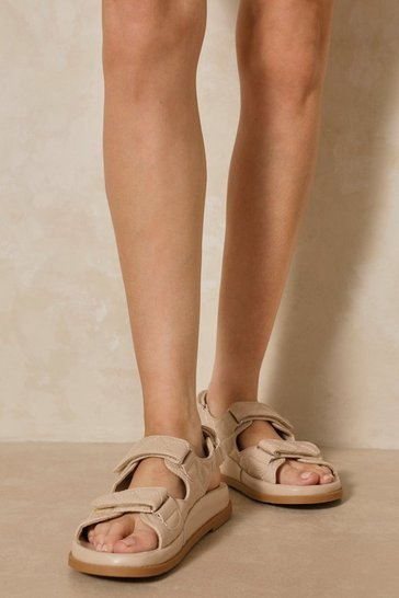 Camel Quilted Strap Sandals