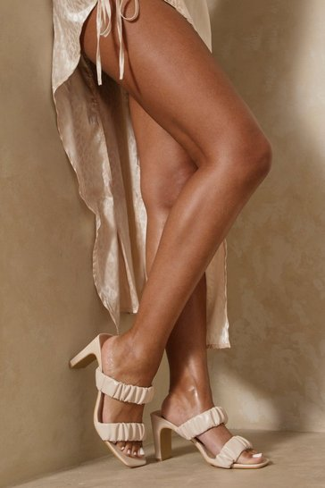Nude Ruched Mid Heel Mules