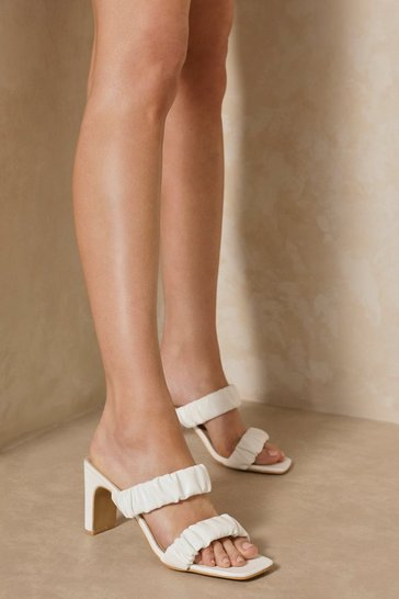 White Ruched Mid Heel Mules