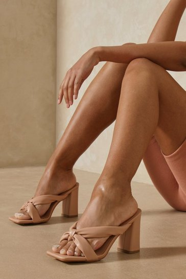 Nude Padded Twist Detail Heeled Mules