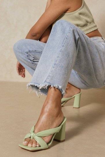 Sage Padded Twist Detail Heeled Mules