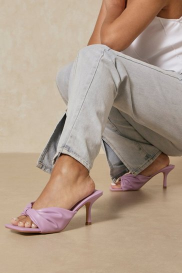 Lilac Twist Front Mid Heel Mules