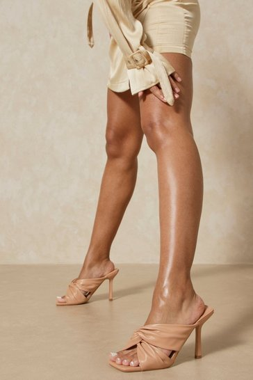 Nude Knot Front Heeled Mules