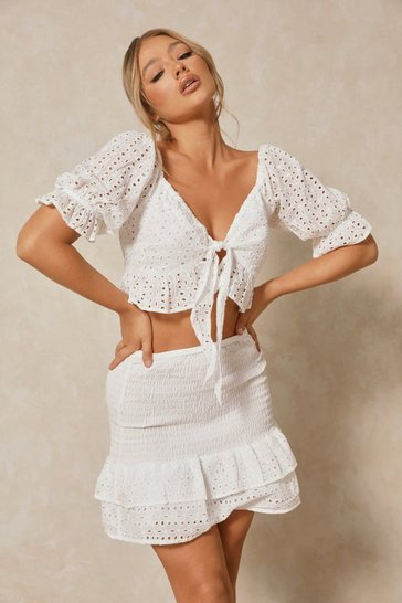 White Ruffle Tie Front Broidery Anglaise Top Co-ord